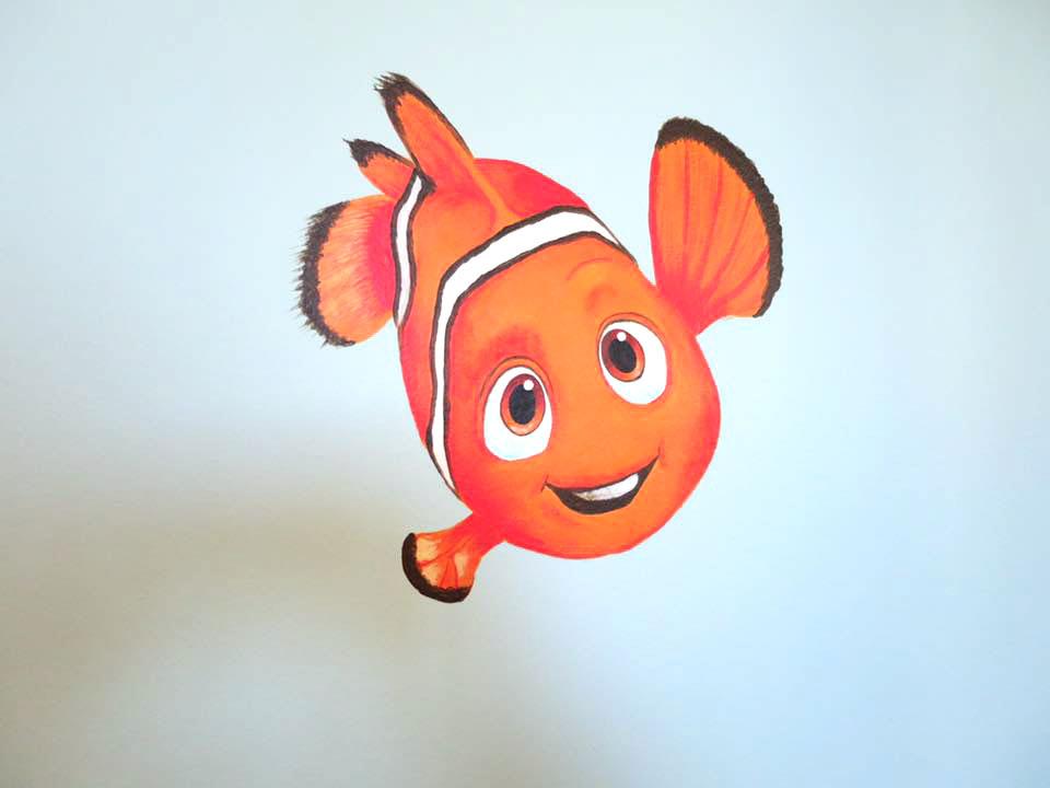 Väggmålning med Hitta Nemo